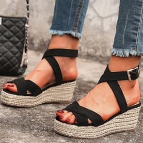 Women's PU Open-toe Wedge Sandals With Buckle