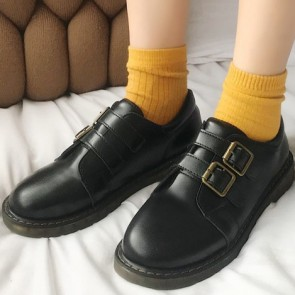 Women's PU Round Toe Shoes With Buckle