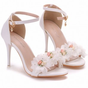 Women's Stiletto Heels Open-toe Decor With Flower For Wedding