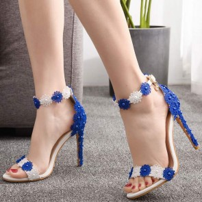 Women's Stiletto Heels Open-toe Shoes Edge Applique