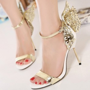 Women's Stiletto Heels Open Toe Slingback With Butterfly Wings Sandals For Wedding
