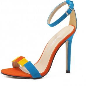 Women's Suede Color-block Open Toe Stiletto Sandals Heels