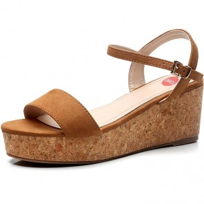 Women's Suede Open-toe Wedge Sandals With Buckle