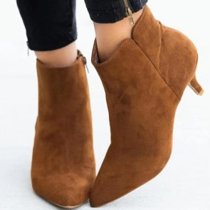 Women's Suede Pointed Toe Low Heels Ankle Boots With Zipper