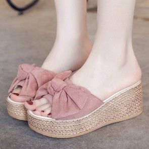 Women's Suede Wedge Heel Sandals Shoes Front With Bowknot
