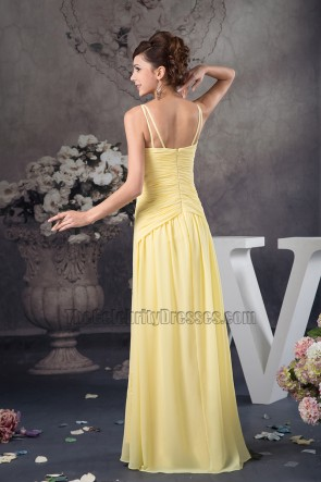 Yellow Spaghetti Straps Chiffon Bridesmaid Prom Dresses