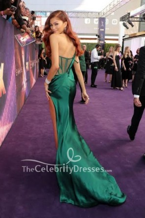 Zendaya Coleman Dark Green One Shoulder Dress 2019 Emmys Awards TCD8653