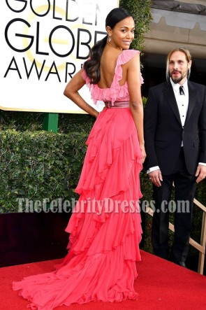 Zoe SaldanaディープVネックフリルイブニングボールガウンゴールデングローブ2017レッドカーペットドレス