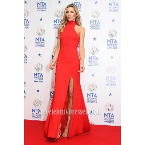 Abbey Clancy Red Prom Dress 2014 National Television Awards