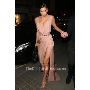 Irina Shayk Pink Sleeveless Beaded Evening Gown Prom Dress