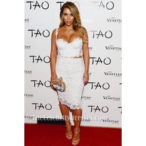 Kim Kardashian Birthday Event 2013 White Lace Party Dress