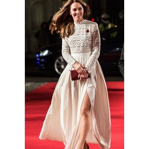 Kate Middleton Lace Pleated Red Carpet Dress