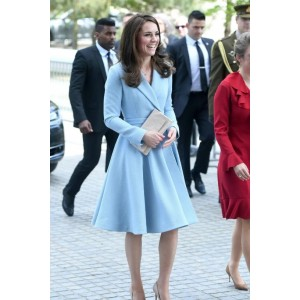 Kate Middleton Light Blue Coat Visiting Luxembourg