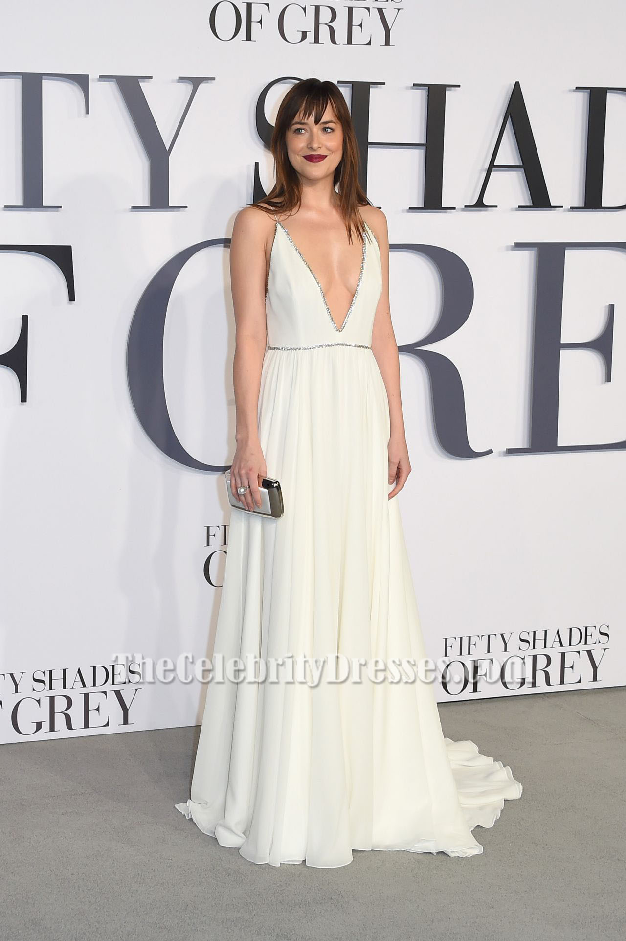 Dakota Johnson Deep V-Neck Evening Dress \'Fifty Shades Of Grey ...