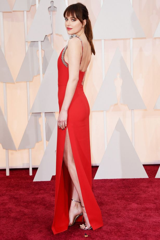 Dakota Johnson Red One Shoulder Evenign Dress 2015 Oscars TCD6051 ...