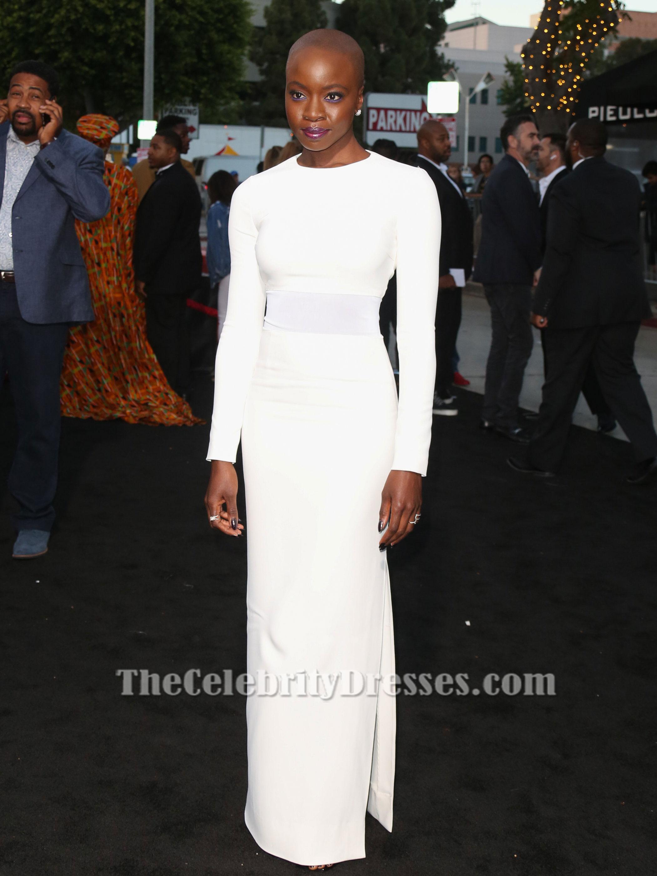 Danai Gurira White Long Sleeve Evening Gown \'All Eyez on Me\' LA ...