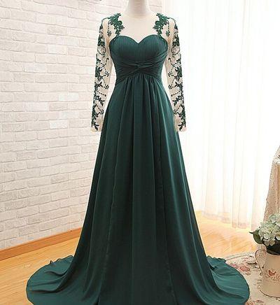 Elegant Dark Green Long Sleeve Prom Dresses Evening Gown ...