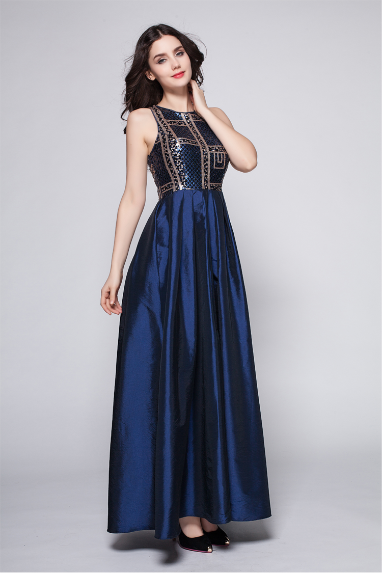 Dark Navy A-Line Prom Dress Evening Gowns - TheCelebrityDresses