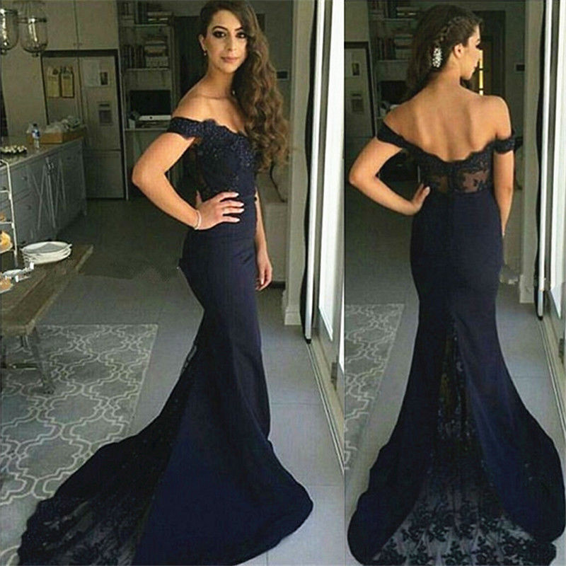 Elegant Dark Navy Off Shoulder Mermaid Evening Prom Dresses ...
