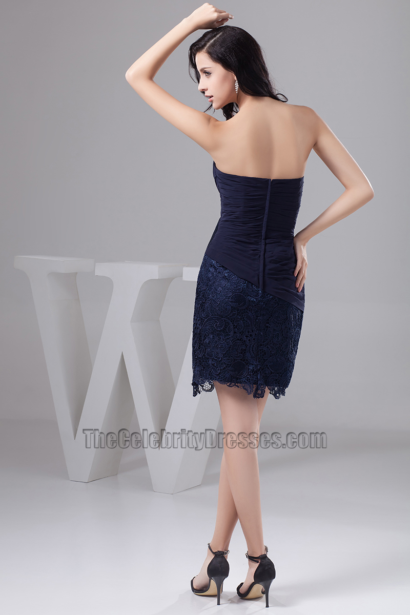 Dark Navy Short Strapless Cocktail Party Homecoming Dresses ...
