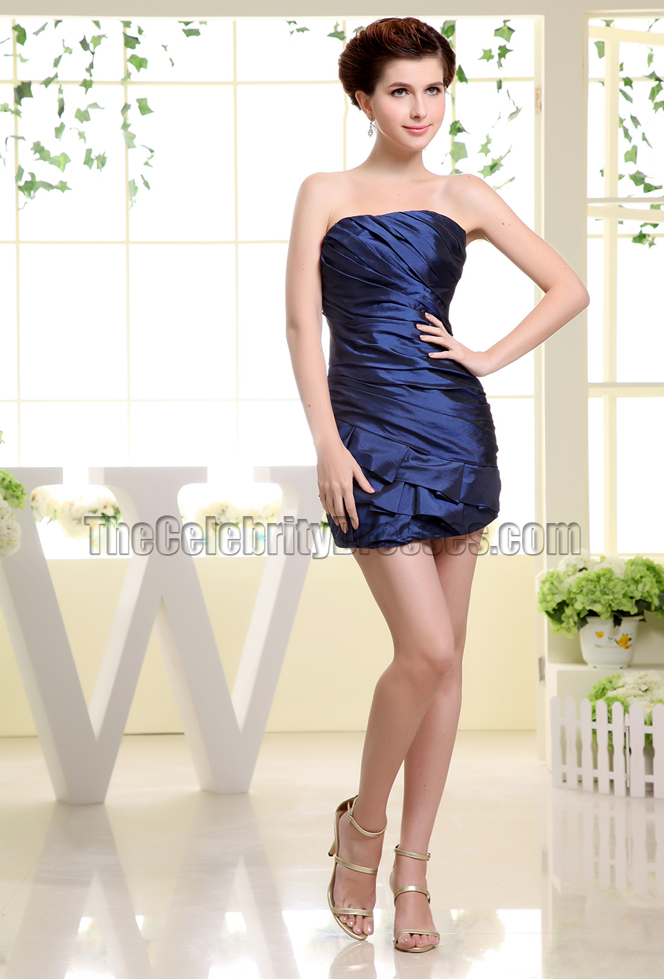 navy blue strapless mini party dress homecoming dresses