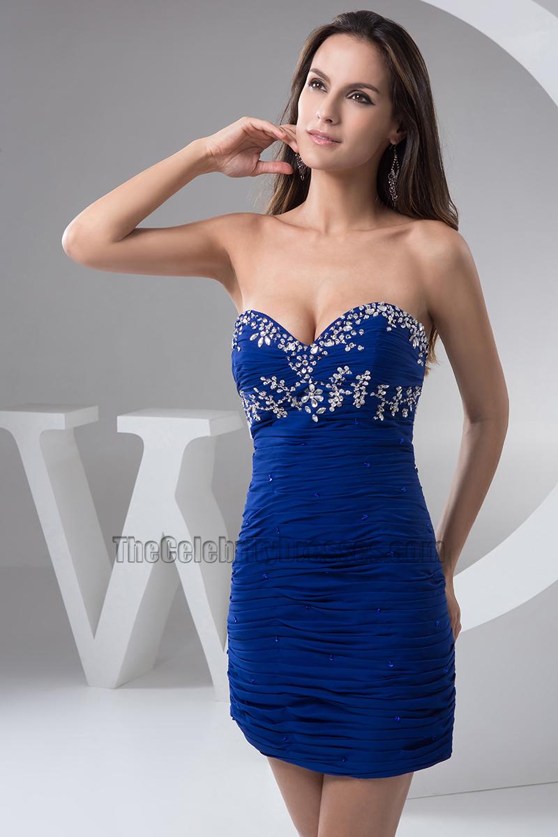 Sexy Dark Royal Blue Beaded Short Mini Party Dress -1999