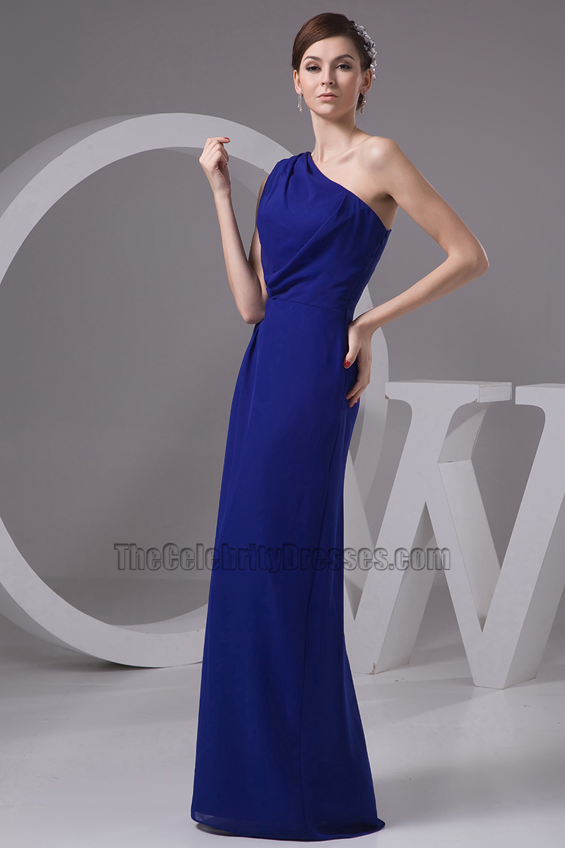 Dark Royal Blue One Shoulder Bridesmaid Dresses Prom Gown Thecelebritydresses