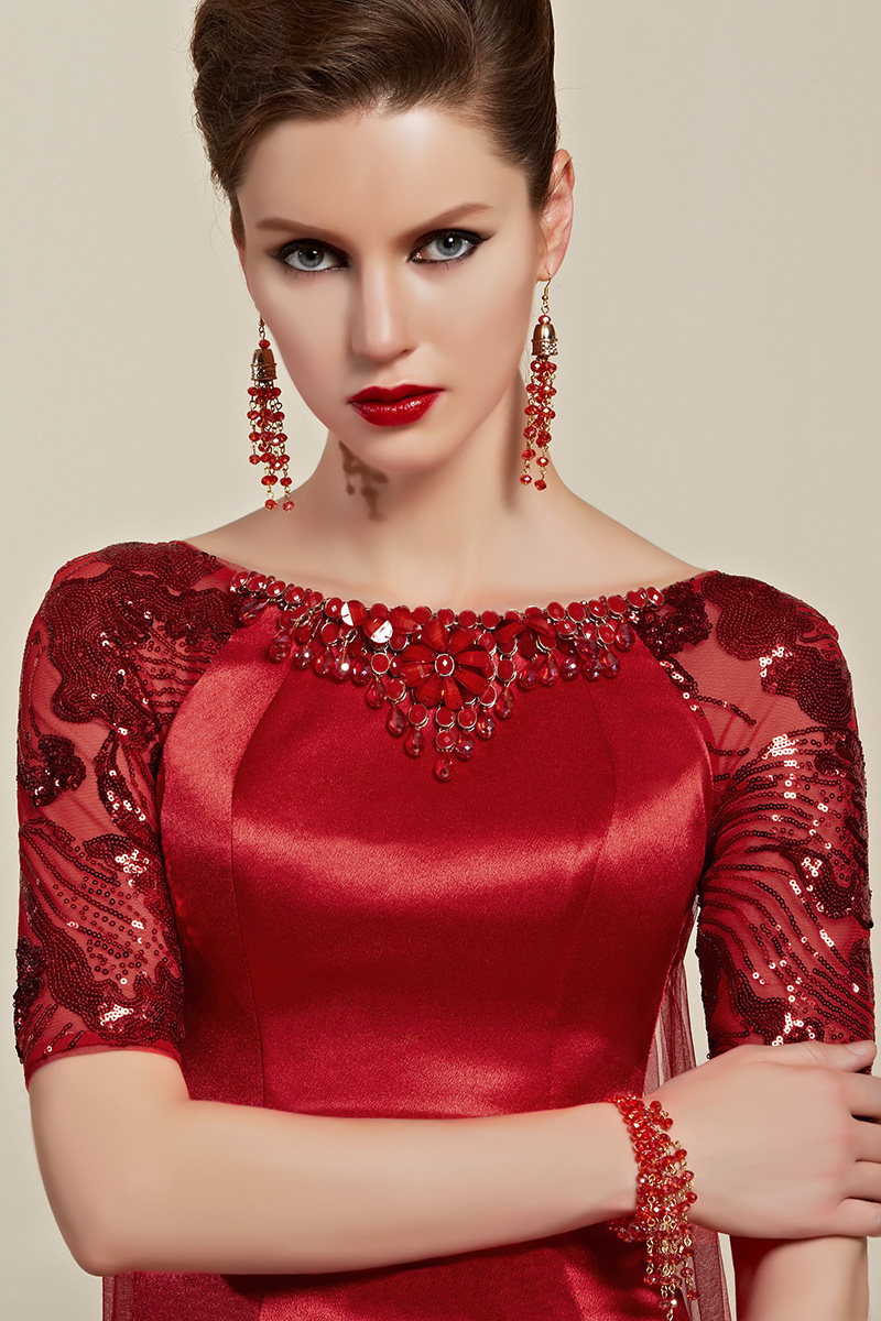 cea1134be6bd9 Deep Red Sequined Watteau Train Formal Dress Evening Gown With Beading -  TheCelebrityDresses