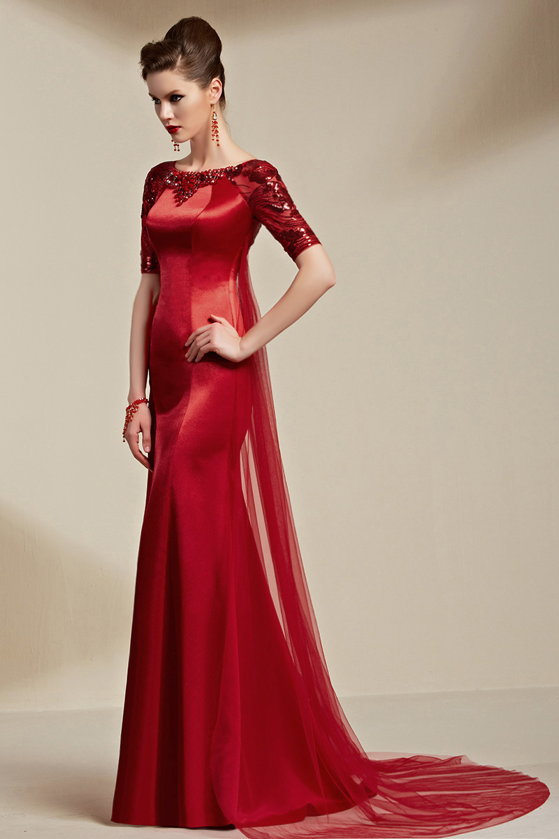 Deep Red Sequined Watteau Train Formal Dress Evening Gown With