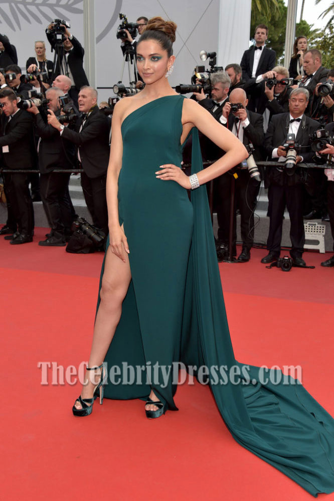 deepika padukone dark green oneshoulder slit evening
