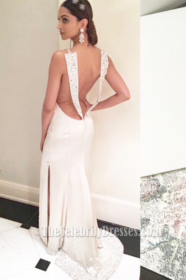Deepika Padukone Ivory Spaghetti Straps Evening Dress the ...