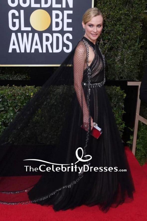 Diane Kruger Black Tulle Halter Beaded Evening Gown 2018 Golden ...