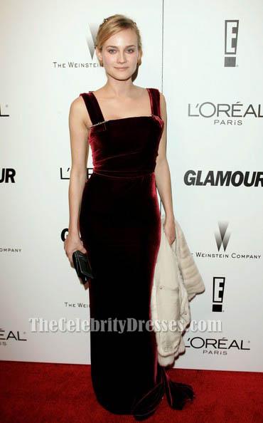 1bcb6e4880b Diane Kruger Red Velvet Formal Dress 63rd Annual Golden Globe Awards -  TheCelebrityDresses