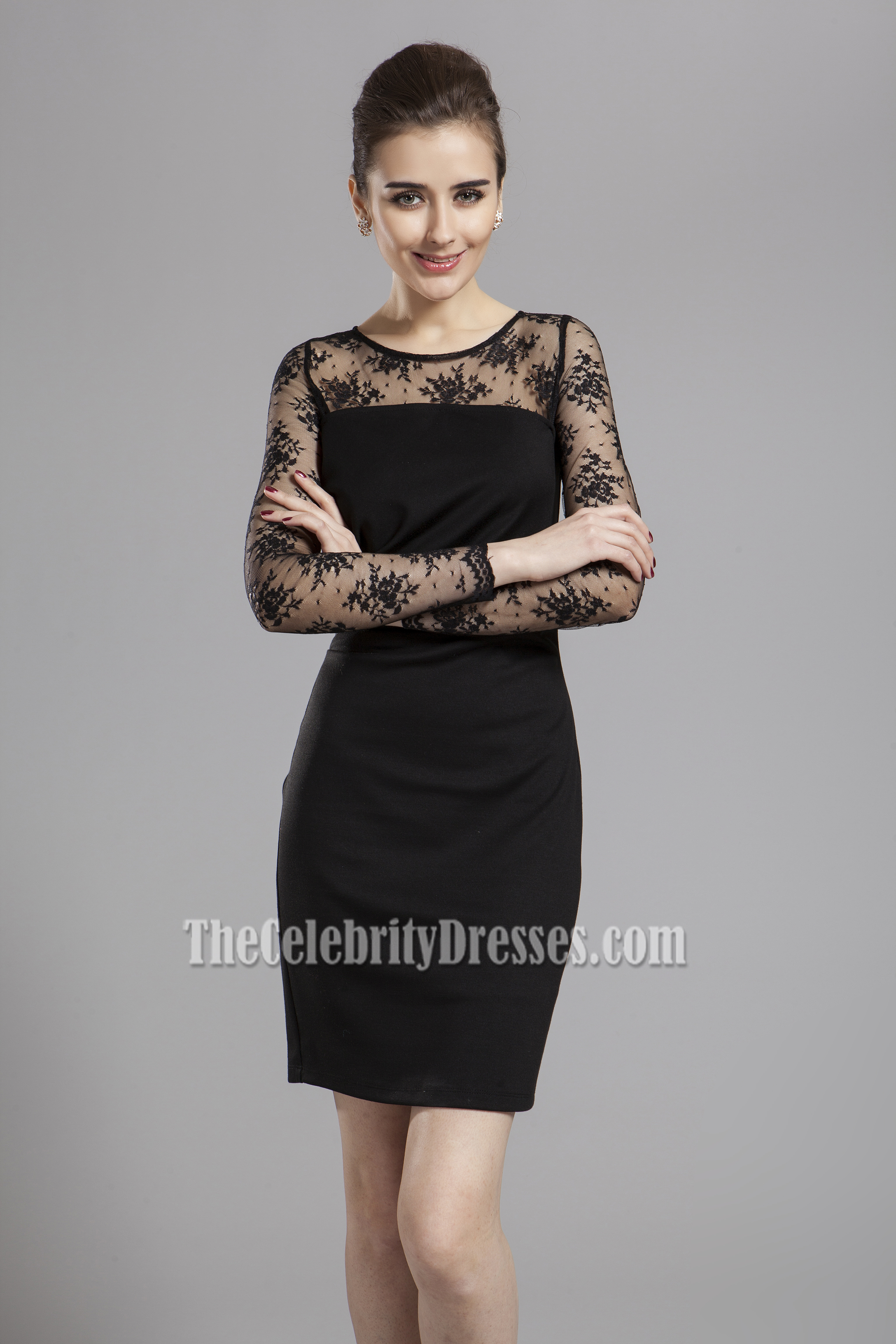 Discount Black Long Sleeve Cocktail Party Dresses - TheCelebrityDresses