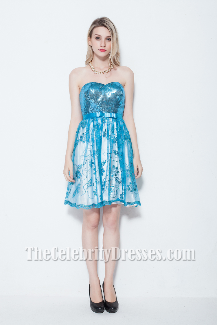 Discount Blue Strapless Sequined Party Homecoming Dress ...