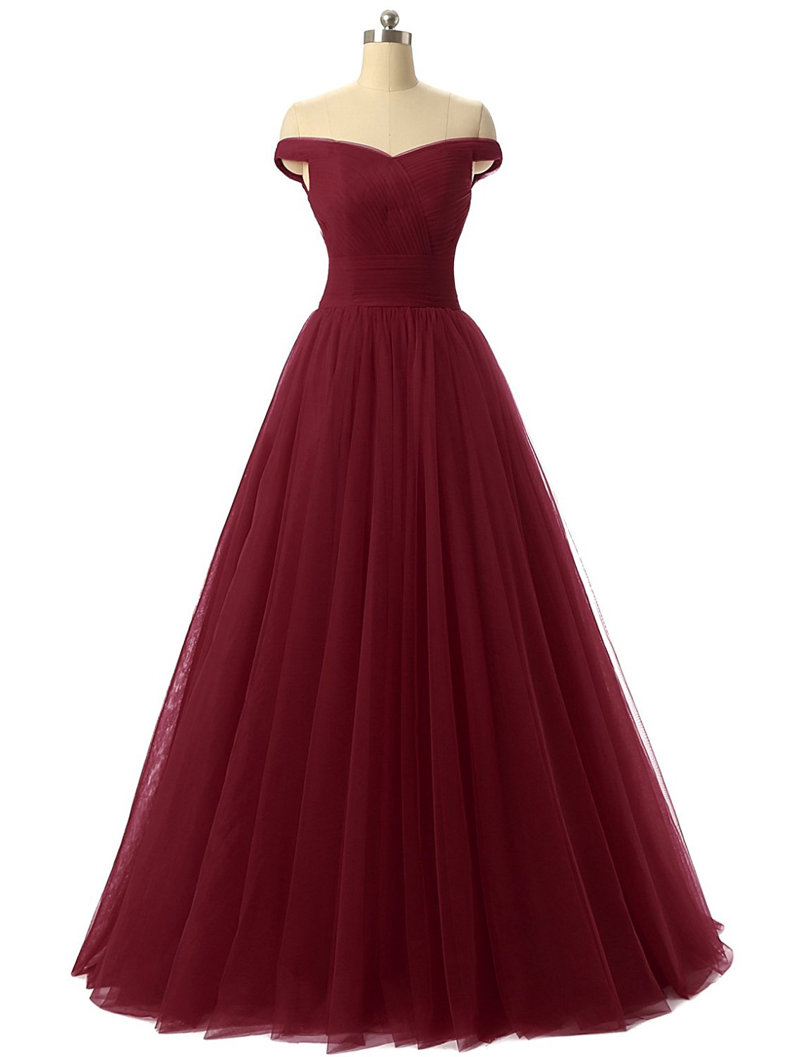 0398e7db11 Discount Burgundy Off-the-Shoulder A-Line Formal Evening Prom Dresses  TCDFD7353