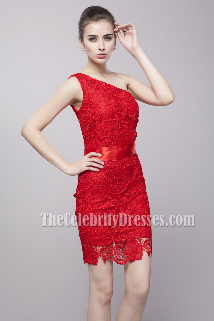 ce9cd3bab6 Discount Red Lace One Shoulder Party Cocktail Dresses - TheCelebrityDresses