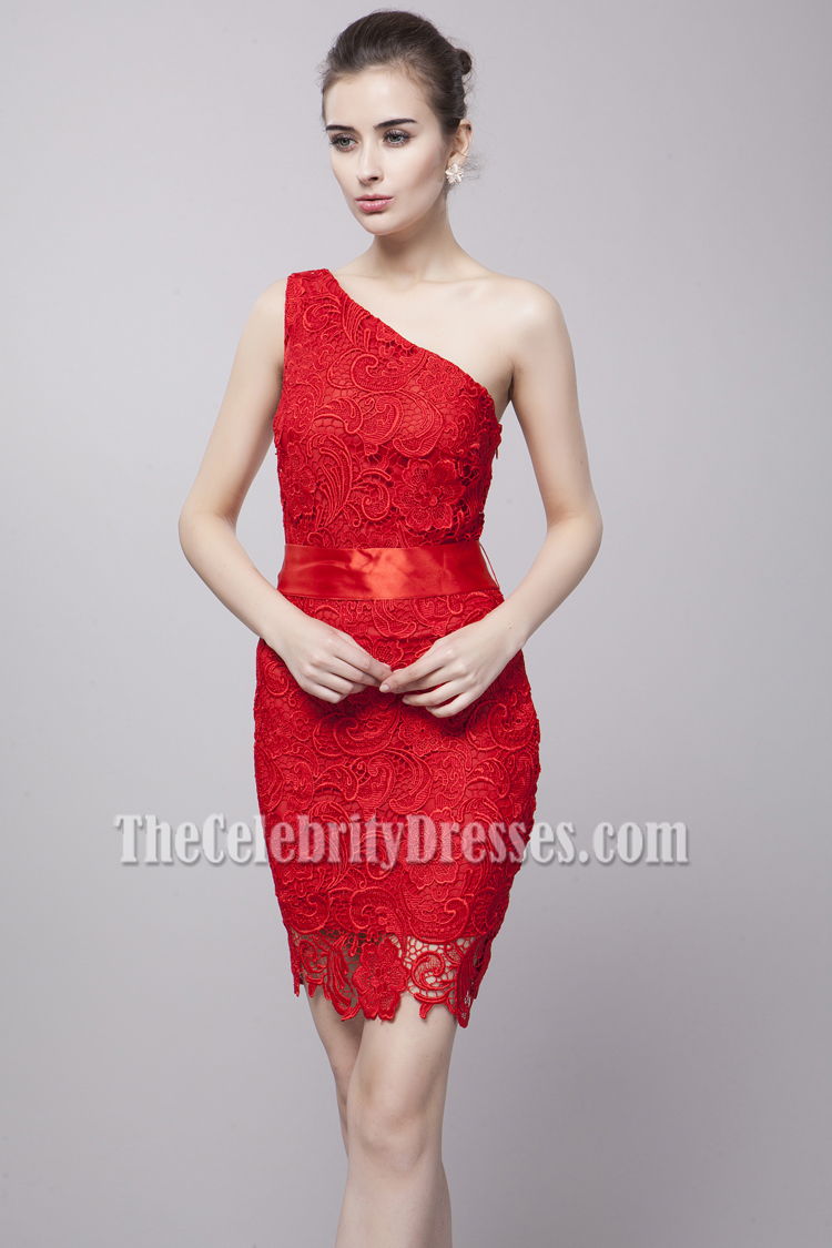 674ab0c29a7 Discount Red Lace One Shoulder Party Cocktail Dresses - TheCelebrityDresses