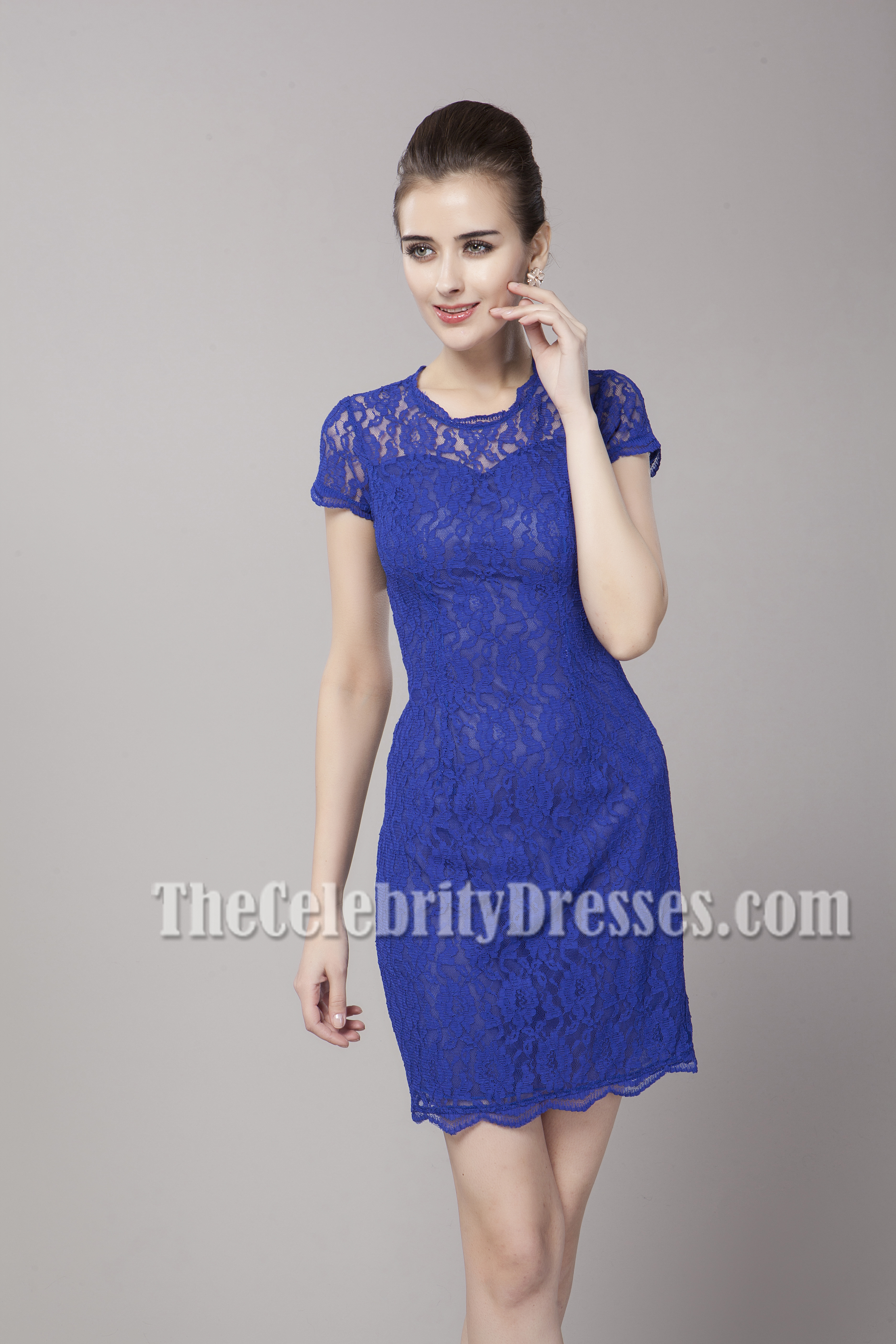 Discount Royal Blue Lace Cut Out Party Homecoming Dresses ...