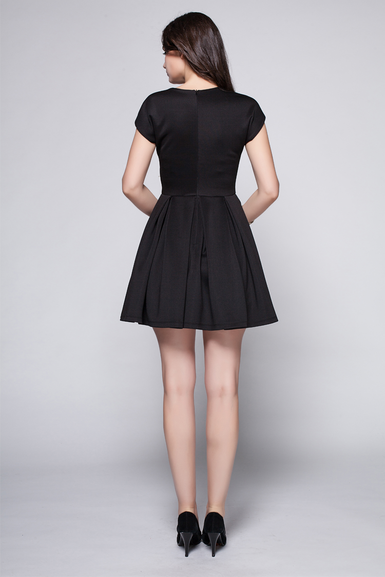 Discount Short Mini Black V Neck Party Cocktail Dress
