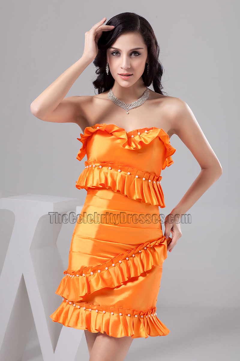 Discount Short Orange Strapless Homecoming Party Cocktail ...