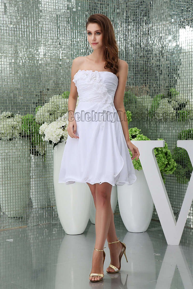 Discount short white strapless party homecoming graduation for Cheap short white wedding dresses