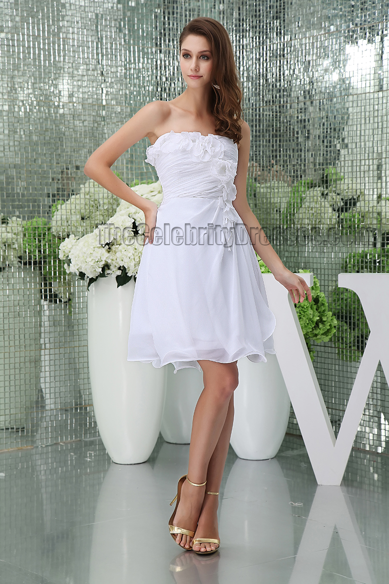 discount short white strapless party homecoming graduation