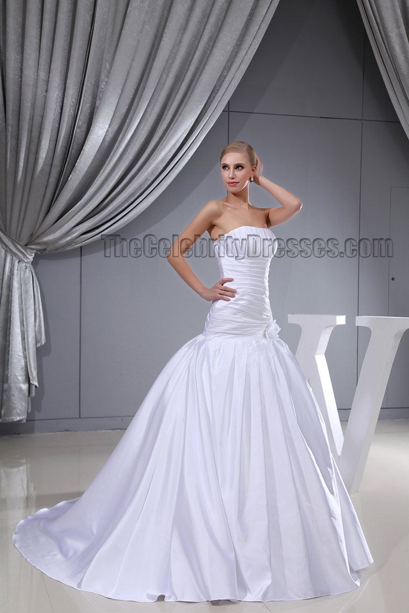Discount strapless a line chapel train wedding dresses for Chapel train wedding dress