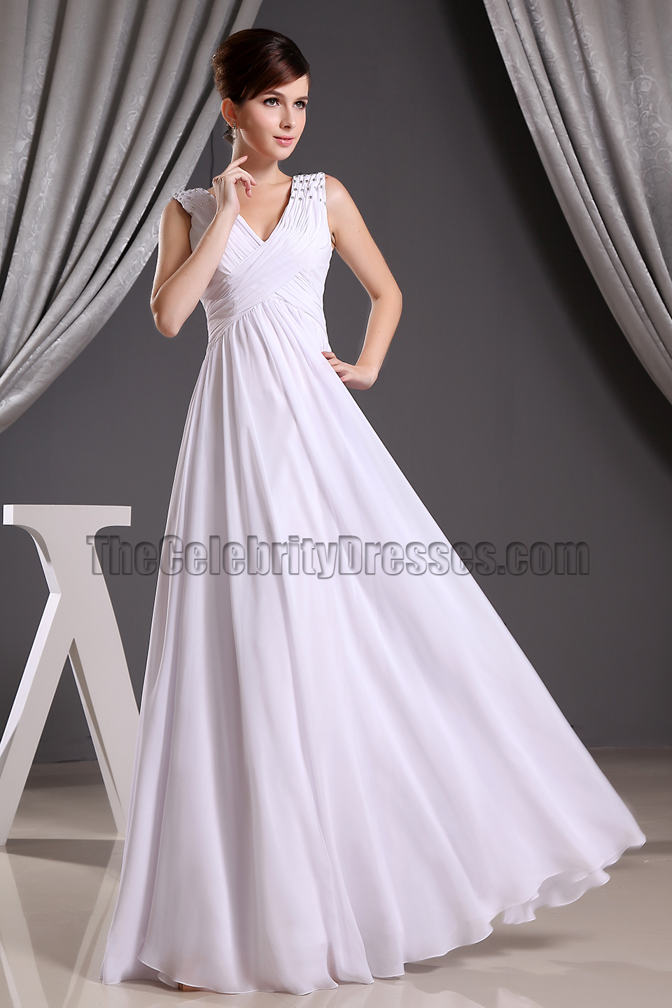Discount White Chiffon V-neck Prom Gown Evening Dresses Informal ...