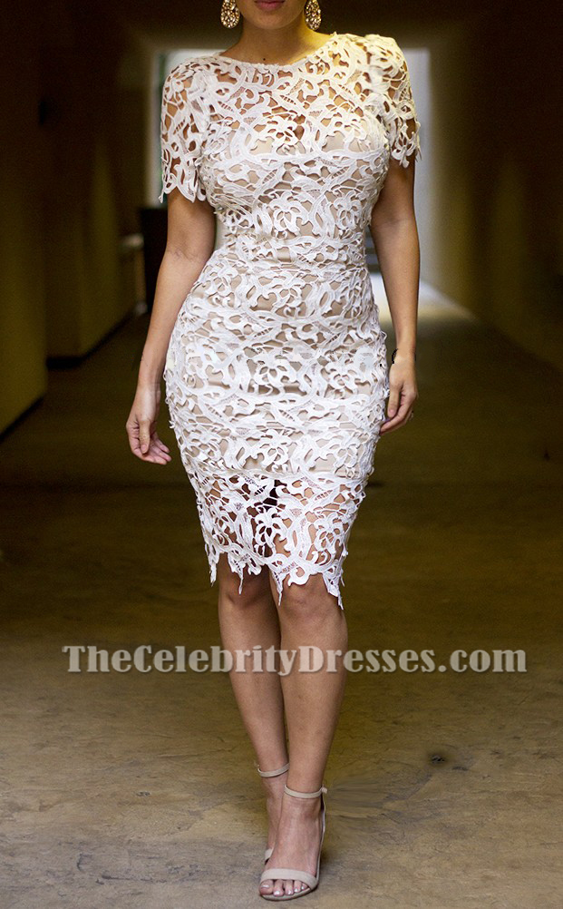 Discount White Lace See Through Cocktail Party Dresses