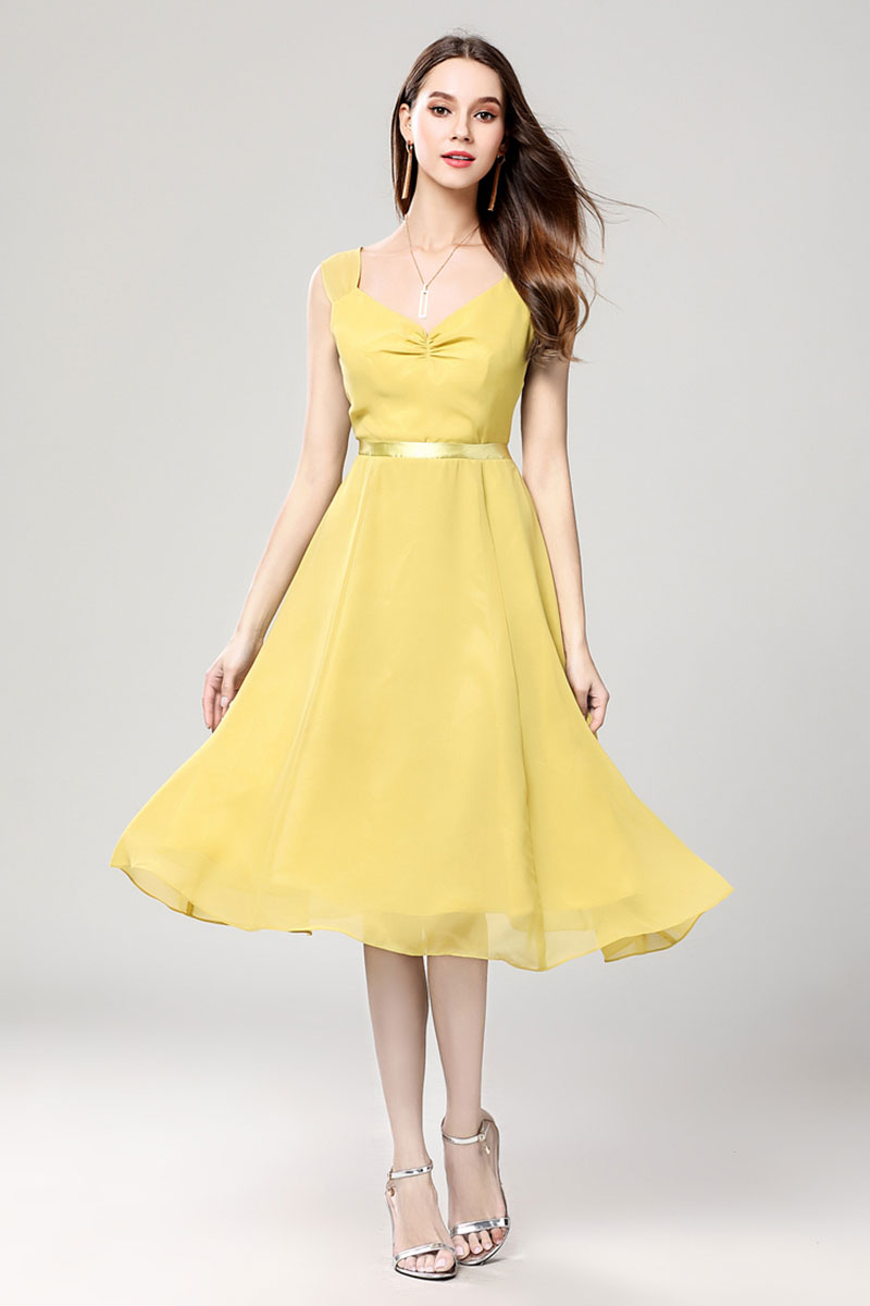 0fabd264d7b Discount Yellow Chiffon Summer Cocktail Party Dress - TheCelebrityDresses