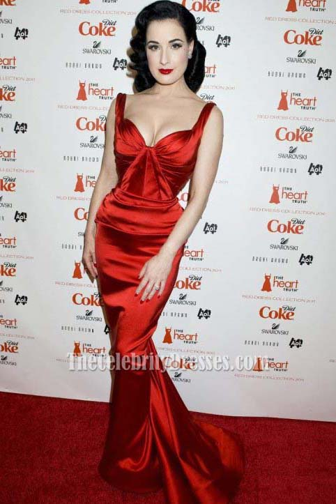 f042e4563 Dita Von Teese Red Carpet Red Prom Gown Formal Evening Dress -  TheCelebrityDresses