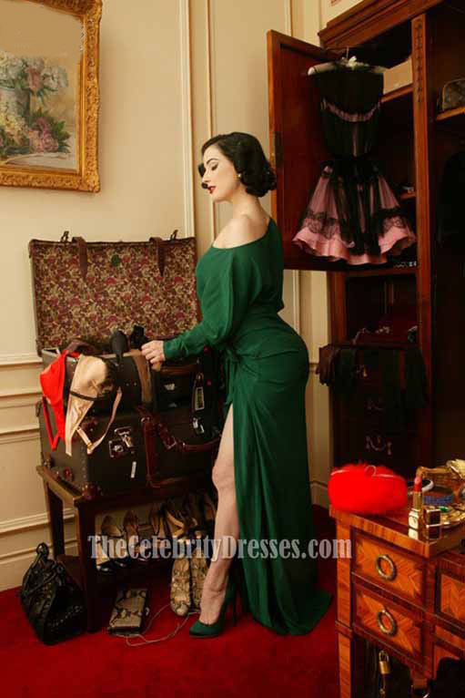 Fashion Inspired Guest Room: Dita Von Teese's Vintage-style Dressing Room Dark Green