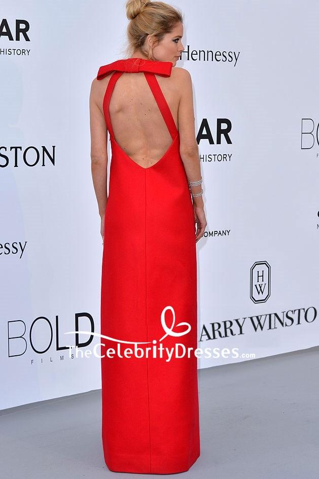 5009378c9b3 Doutzen Kroes Red Backless Evening Dress 2015 amfAR Cinema Against AIDS  Gala - TheCelebrityDresses